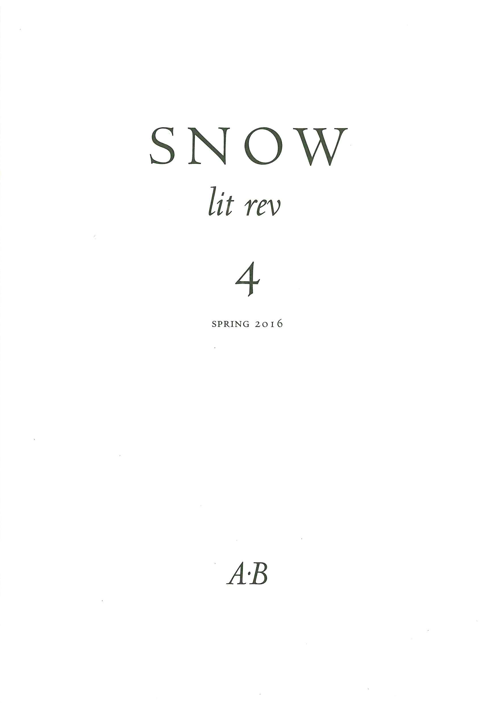 Snow lit rev, no. 4