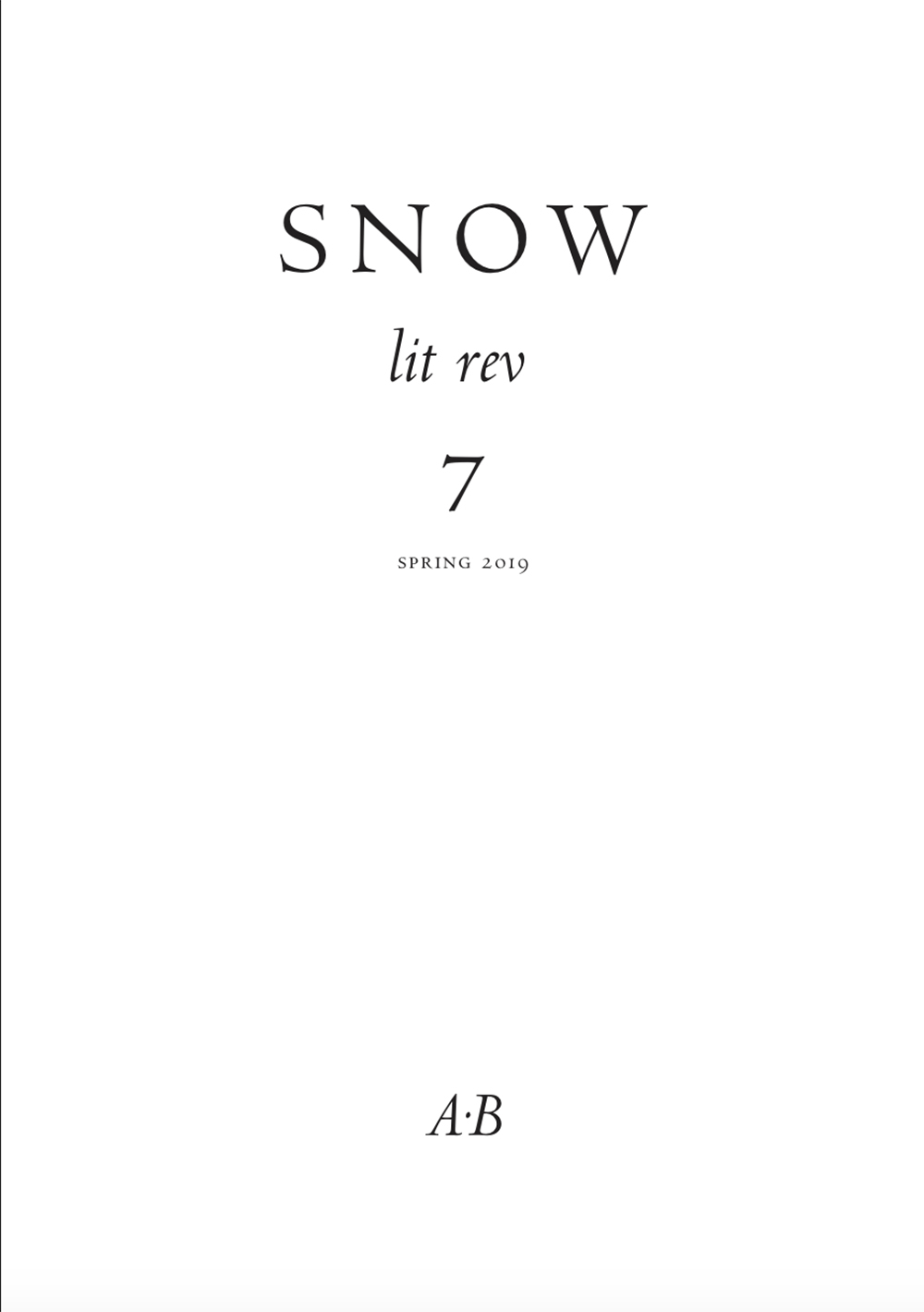 Snow lit rev, no. 7