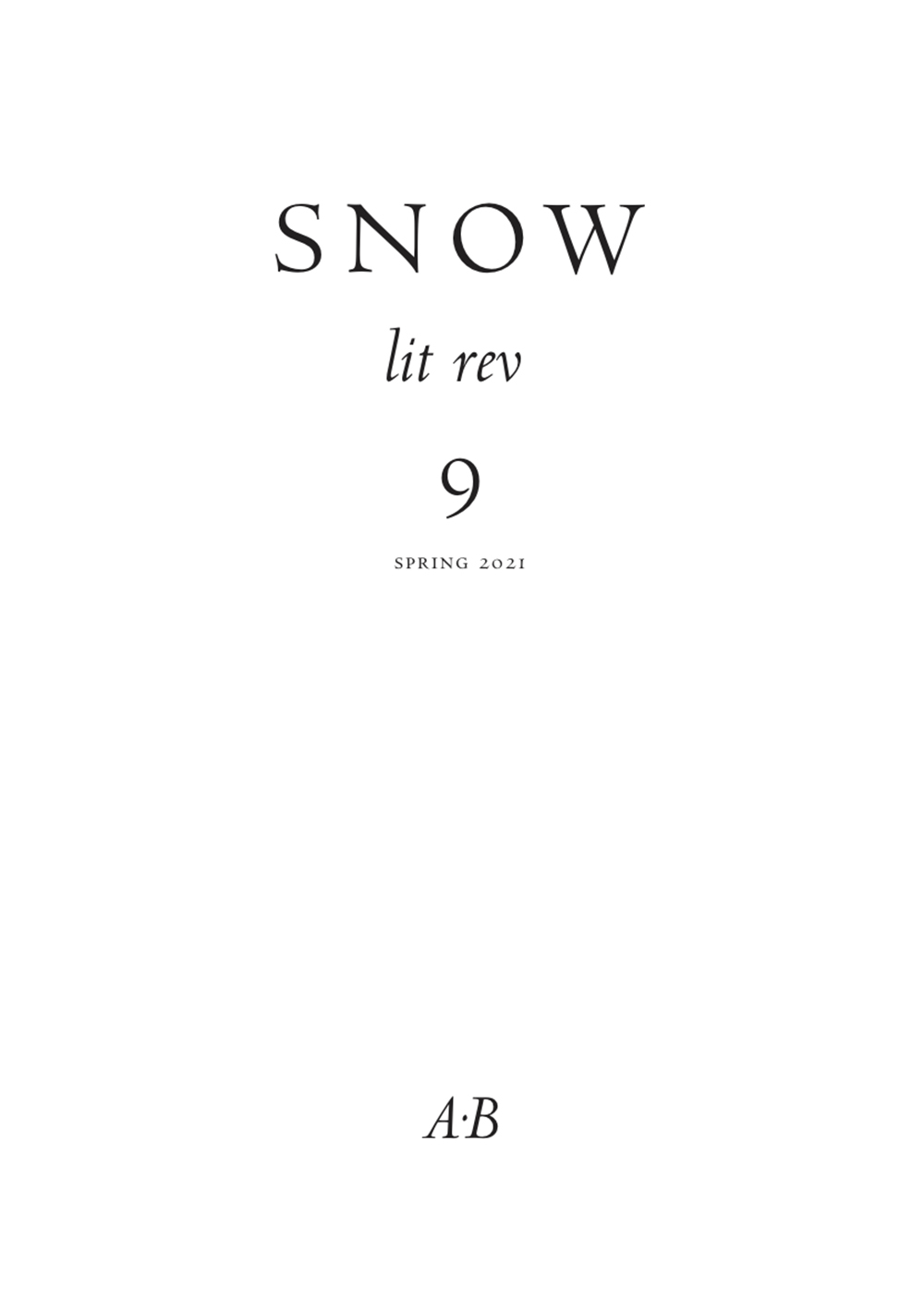 Snow lit rev, no. 9