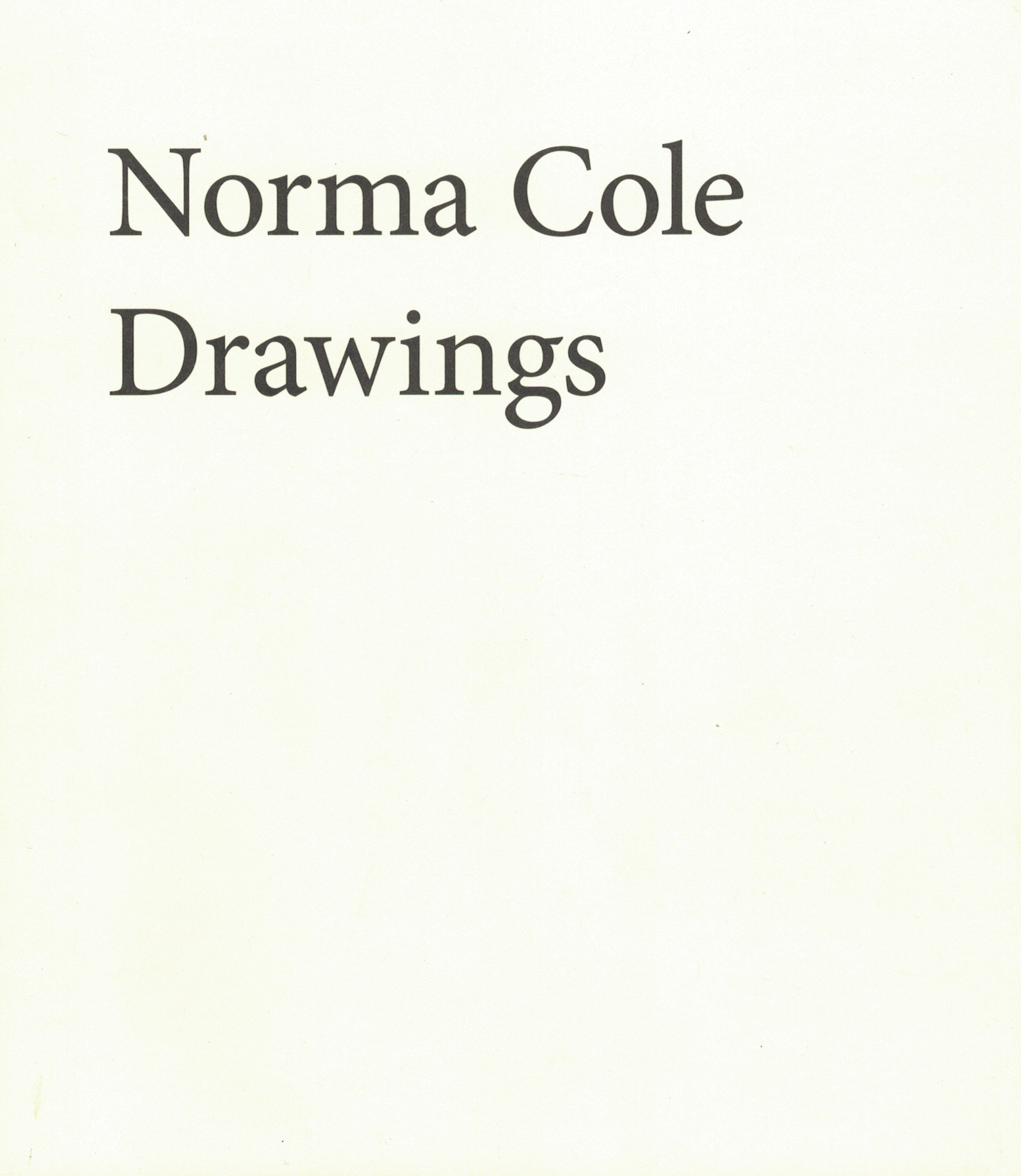 drawings | norma cole | further other books