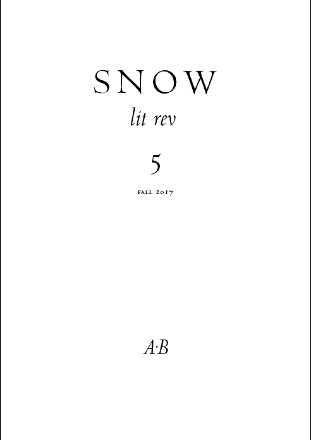 Snow lit rev, no. 5