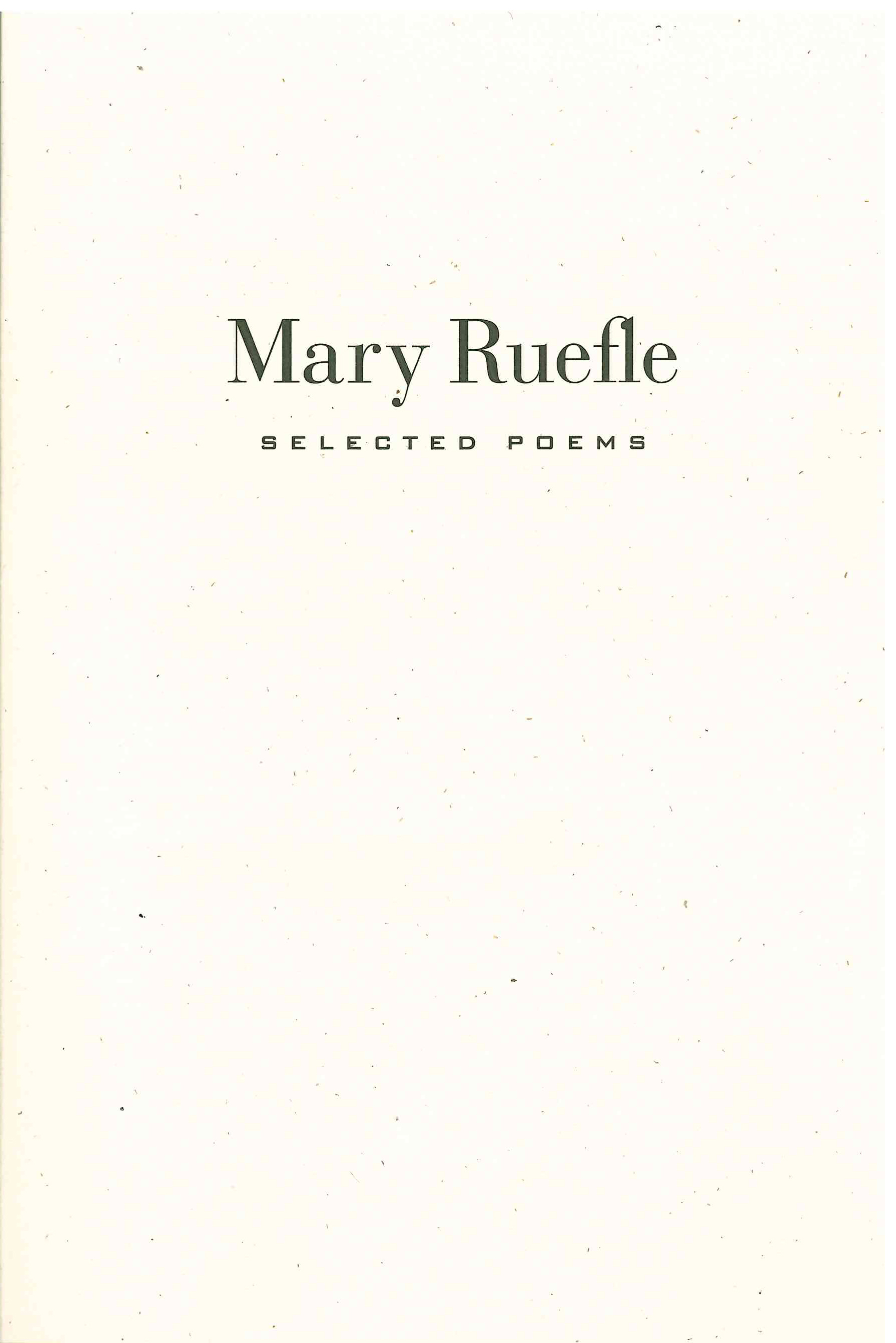 Selected Poems, Mary Ruefle