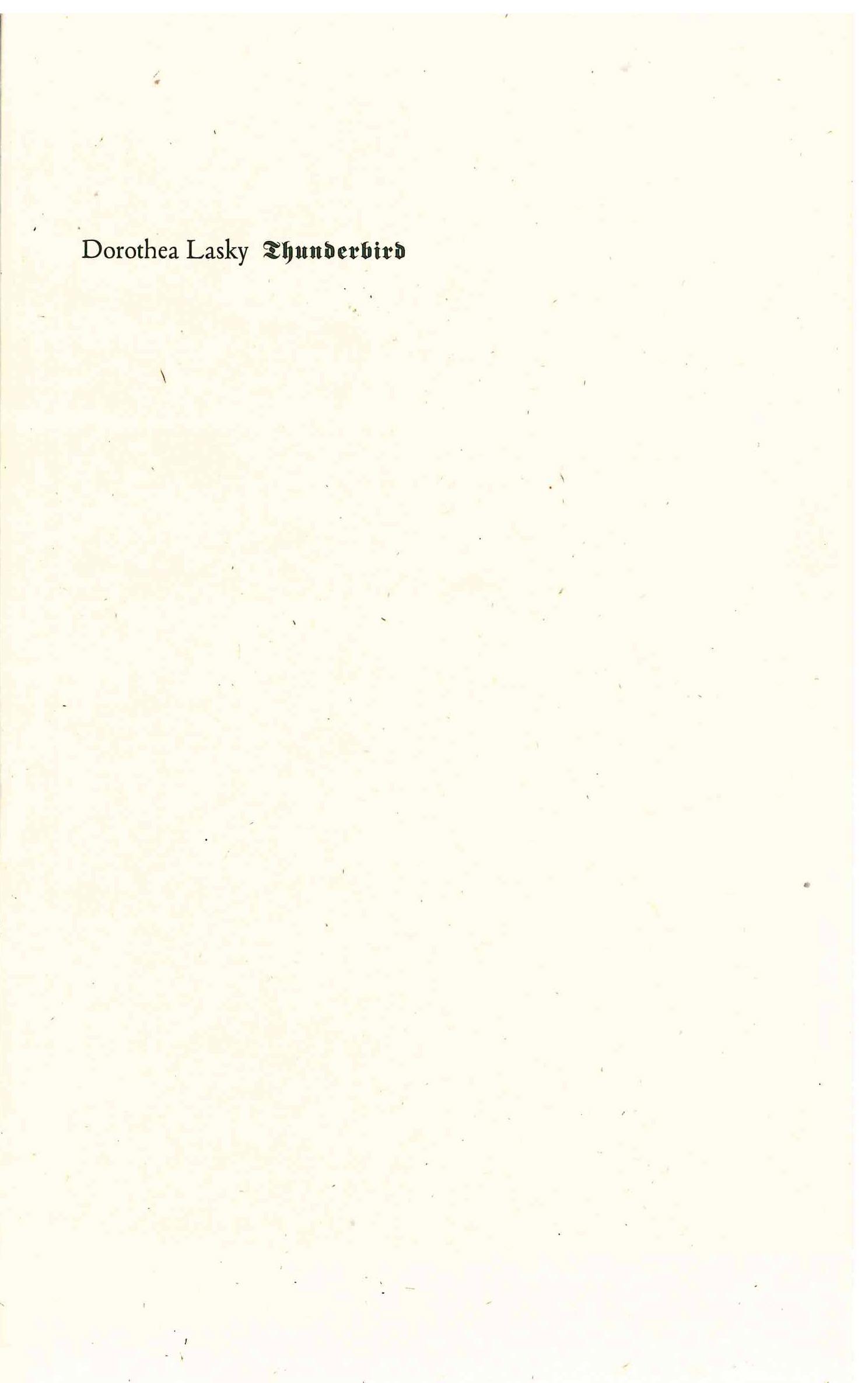 Thunderbird |  Dorothea Lasky | Wave Books